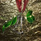 Shabby chic silver decorative plastic silver bell mistletoe leaf CHRISTmas decor