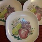 3 REDWING handpainted vintage USA pottery pink fruit design print dinner plates