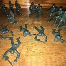"""Lot 21 green plastic army men military 2-3"""" action figures toys different poses"""