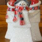 Christmas winter snowman Santa candle holder sparkly snow finish decoration GUC