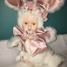 """15"""" Easter decoration doll baby in rabbit bunny fur costume pink bow flowers"""