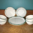 7 vintage heavy duty cups plates restaurant ware white green stripe band mixed