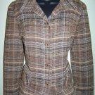 SAG HARBOR 10P petite lined brown plaid blazer jacket tweed nap artsy career