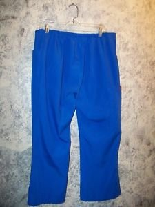 DICKIES scrubs pants nurse dental medical vet women L short royal blue mid rise