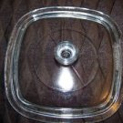 "Vintage glass casserole dish lid ovenware bakeware clear glass square 6.5"" GUC"