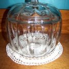 """Pumpkin shaped container w/lid clear glass candy treat holder fall Halloween 7""""H"""