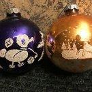 2 whimsical CHRISTmas tree ornaments large flocked design toys deer teddy bear
