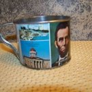 Decorative Illinois state tin can cup Lincoln vintage souvenier made Hong Kong