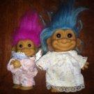 "1 RUSS troll dolls vintage blue purple hair 3-4"" clothes dress GVC brown eyes"