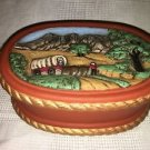 Frontier west covered wagon scenic ceramic handpainted ceramic trinket box 4x6.5