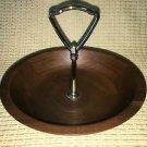 Solid American Walnut mid-century wood nut bowl gold metal handle vintage 60-70s