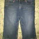 Denim blue jeans capri peddle pusher pants junior 9 low rise guacho cuff spring