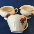 Antique ivory red purple poppies flowers retro creamer sugar set tea coffee cup