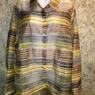 Semi sheer shimmer silky stripe woman 1X button down shirt yellow brown CITIKNIT