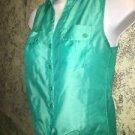 CANDIES rockabilly crop button down tie waist top blouse green sheer junior M