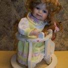 "Porcelain baby doll wooden walker blonde blue eyes eyelashes 12"" handpainted GUC"