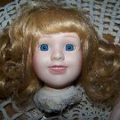 Hand painted porcelain doll head arms legs blonde hair bangs blue eye open smile