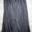 "Black nylonTricot knee length skirt half slip lace trim front slit waist 30-32"""