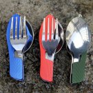 Hot Sale  Outdoor camping tableware portable EDC tools 3 in1 Multi-Function Folding Spoon Fork