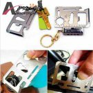 Stainless Steel Multifunctional Pocket Survival Card Tool with Pouch for Tactical Outdoor Campi
