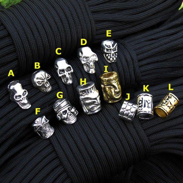 Paracord Beads Metal Charms Skull For Paracord Bracelet Accessories Survival,DIY Pendant Buckle