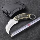 claw Karambit Knife sharpen Neck Knife with Sheath gold Tiger Tooth Real game Knife camping wit