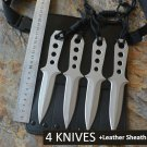 4 Diving Knives /Set USA Fixed 440C Blade Knife With Leather Sheath Survival Tactical Knifes Hu
