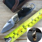 Stainless Steel Mini folding knife with carabiner hanging buckle hike Outdoor Camp Survive kit