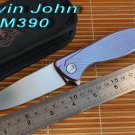 Kevin John M390 or S35VN blade Titanium Icebreaker F95 folding knife double row ceramic ball ca