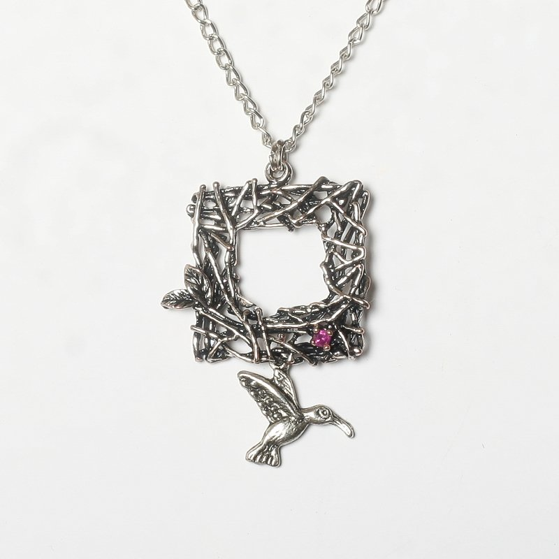 Necklace ruby bird