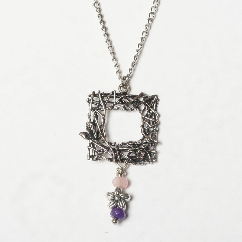 Necklace aquamarine quartz