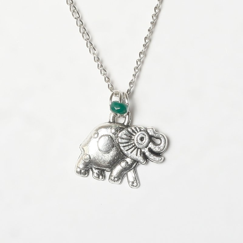 Necklace elephant green agate