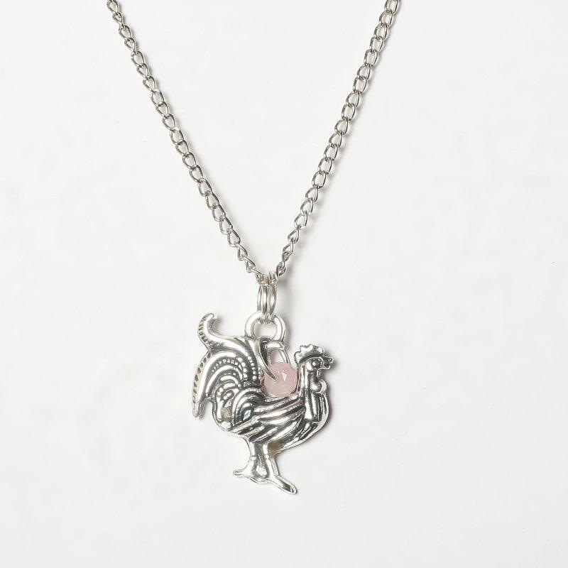 Necklace rooster rose quartz