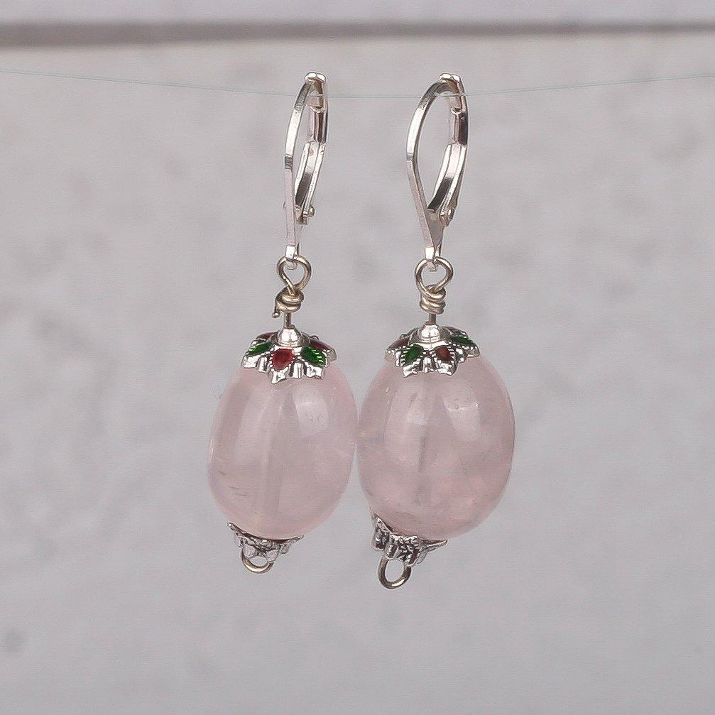 Sterling silver earrings rose quartz