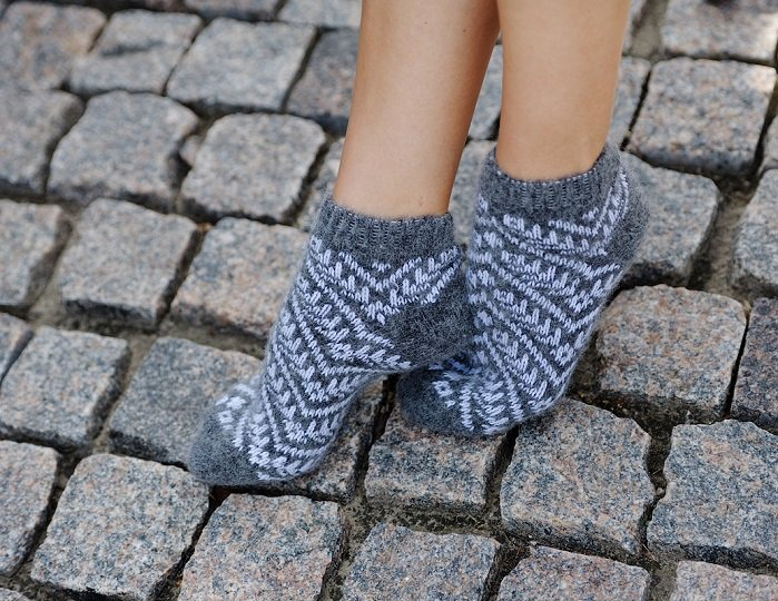 Women M Wool Warm Ankle Socks Stripes Thick