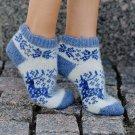 Women M Wool Warm Ankle Socks Reindeer Thick Blue