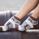Women M Wool Warm Ankle Socks Reindeer Thick Brown