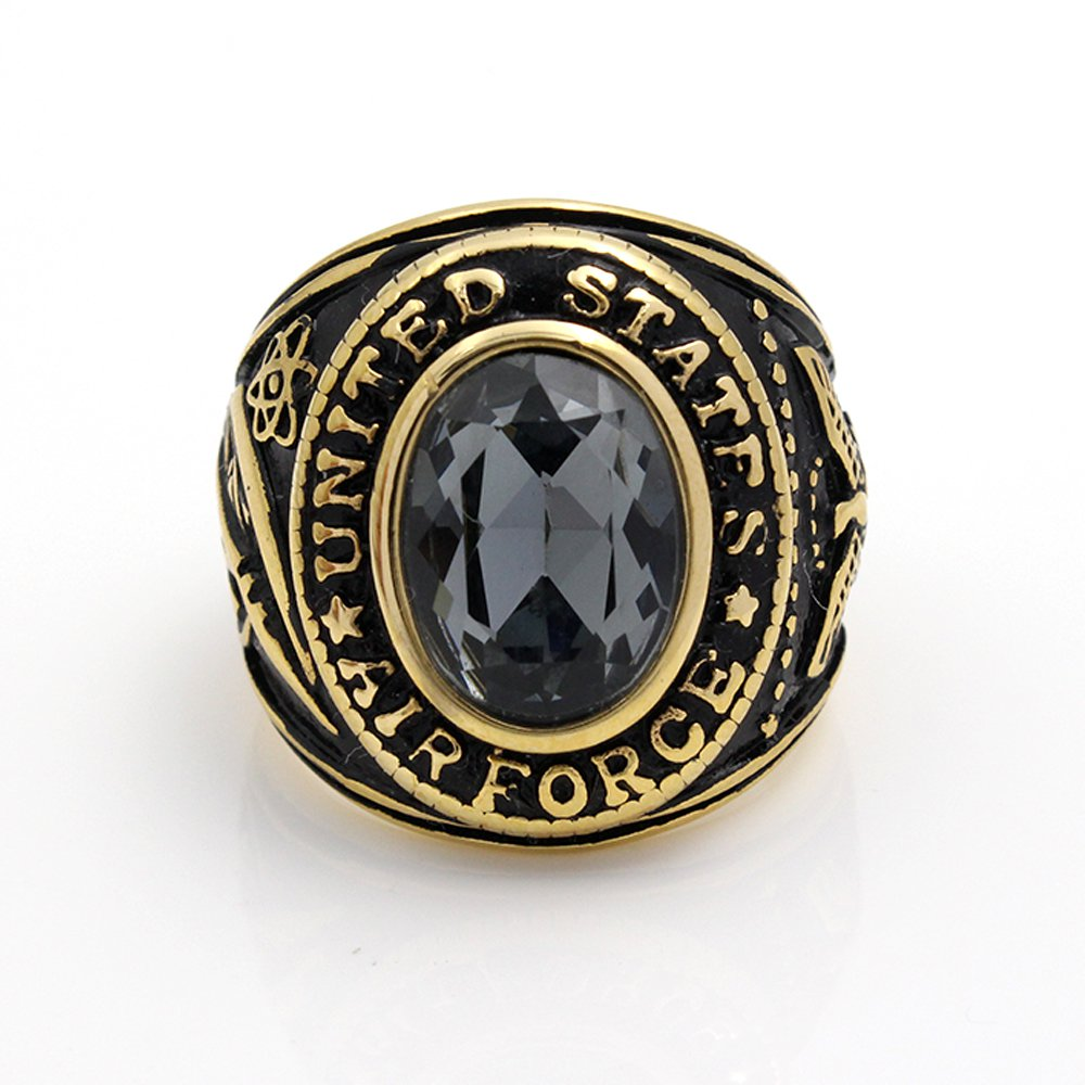 Vintage United States US Air Force Ring USAF Military Gold Stainless Steel Ring