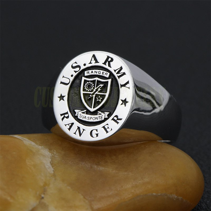 Vintage US Army Ranger USA Military 925 Sterling Silver Ring customized rings