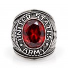 United stated US Army Military Red emerald bule white yellow Gemstone 925 Sterling Silver Solid Ring
