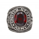 United stated US Army Military Red emerald bule white yellow Gemstone Solid Ring
