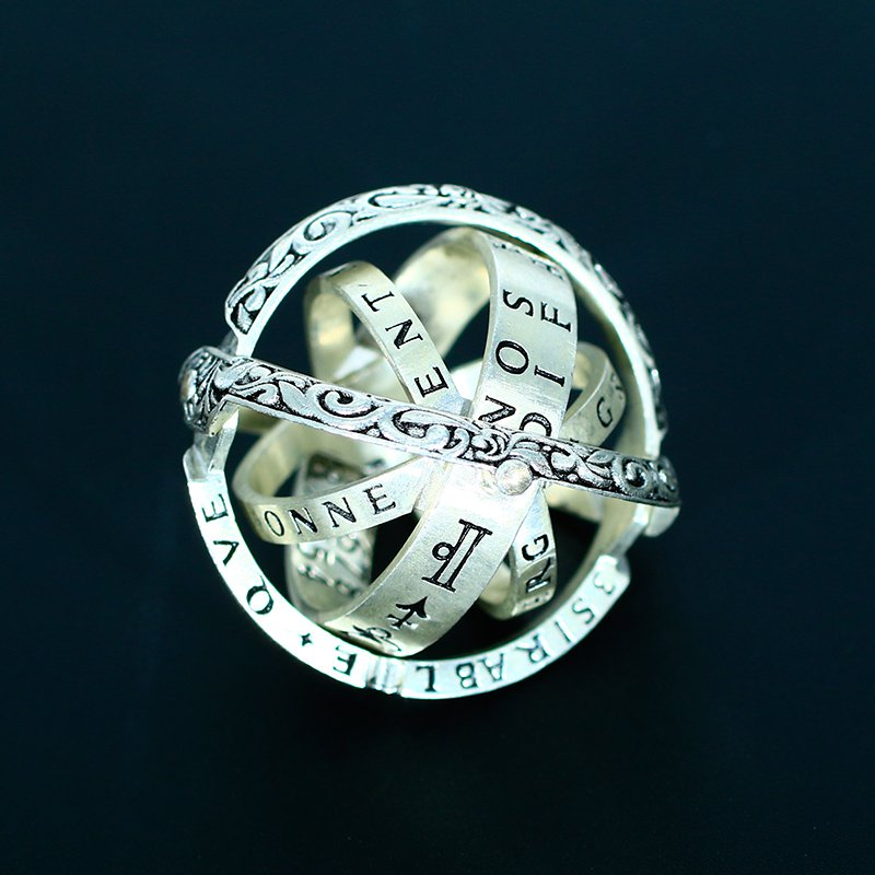 Ancient Astronomical ball Universe Star German Globe Deformation Sterling Silver couple ring