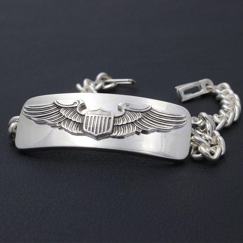 Men�s Us Army Air Force Pilot Badge AAF Eagel Sterling Silver Bracelet Bangle