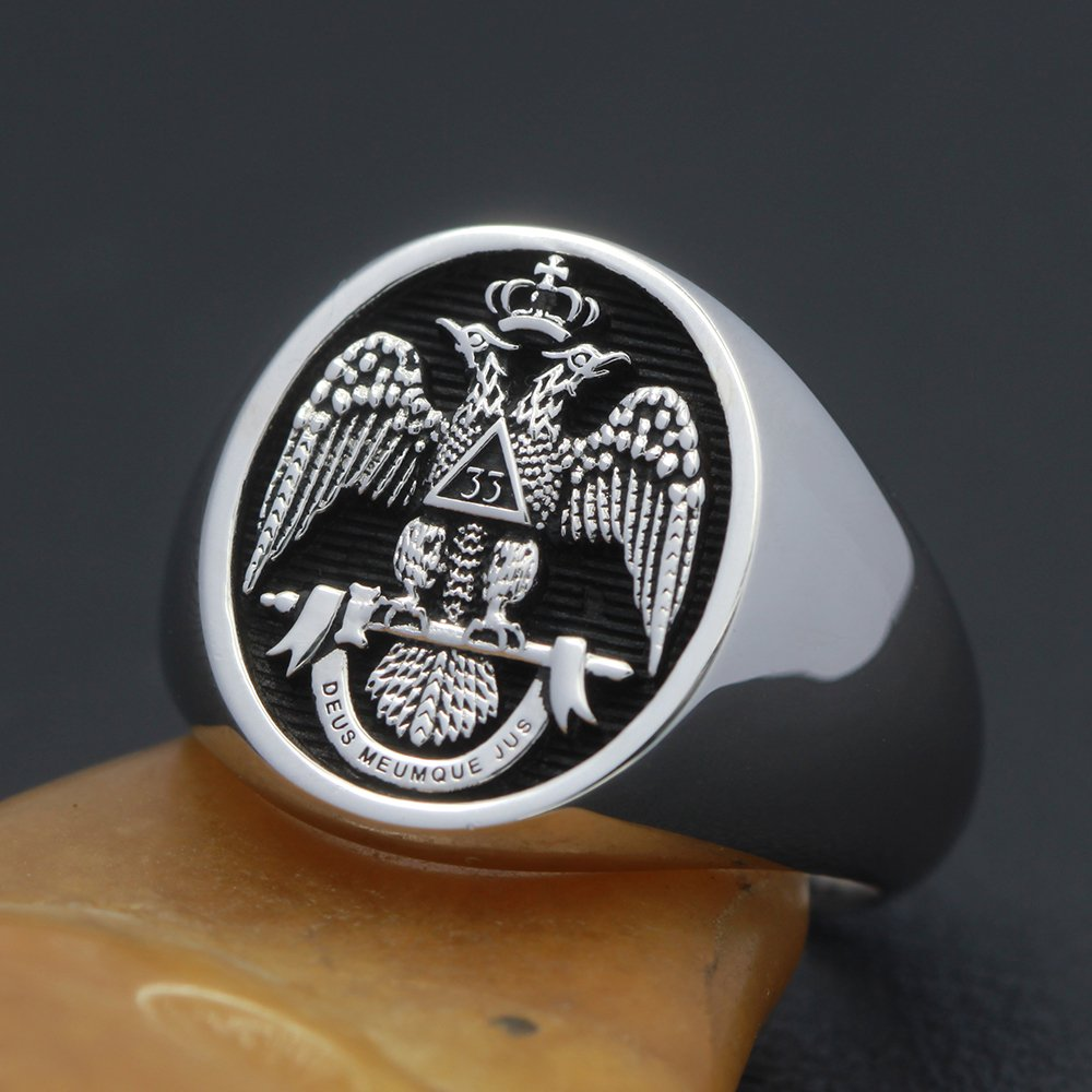 Men`s 33rd Degree Masons Double headed Eagle  925 Sterling Silver Ring