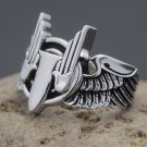WWII U.S. Army Air Force Aerial Gunner Wing Military 925 Sterling Silver Ring