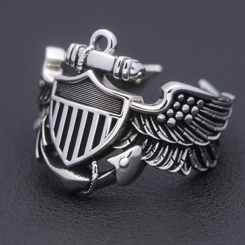 Vintage WW2 USN Navy Naval Aviator Pilot Wings Fine Sterling Silver Ring