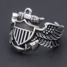Vintage WW2 USN Navy Naval Aviator Pilot Wings Fine Sterling Silver Ring
