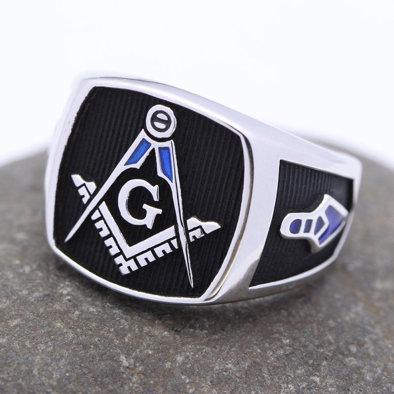 Ancient Freemasonry Blue Lodge Symbol Master Mason Masonic Sterling Silver Ring