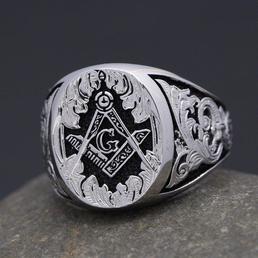 Masonic Signet Master Mason Symbol G Templar Freemasonry Hand engraved Sterling Silver Ring