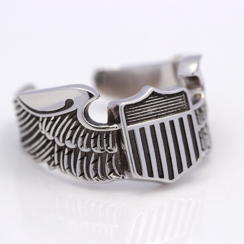 Men`s WWII US Army Air Force Pilot Eagle Wings 925 Sterling Silver Jewelry Ring